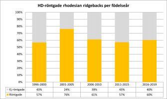 <p>Andel HD-röntgande av antal svenskfödda rhodesian ridgebacks fördelat per hundarnas födelseår. Uppdaterad 2019-06-22.</p>